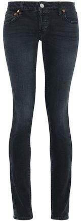 Leather-trimmed Mid-rise Skinny Jeans