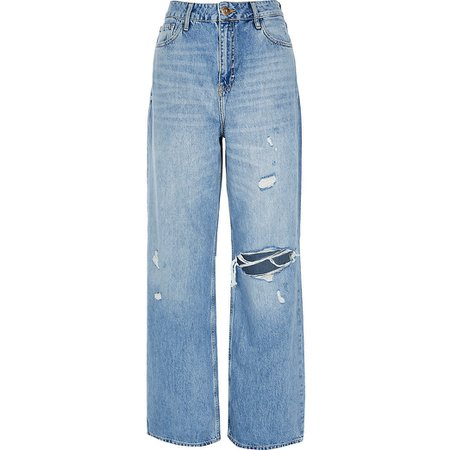 Denim high rise loose leg jeans | River Island