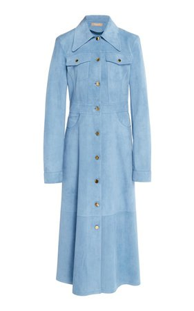Leather Chambray Trench Coat by Michael Kors Collection | Moda Operandi