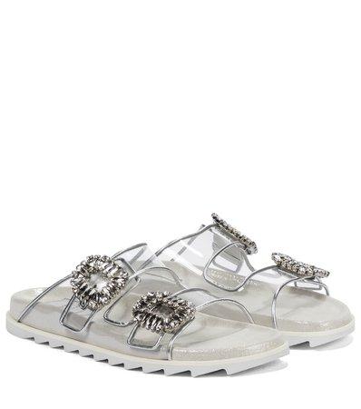 Roger Vivier - Slidy Viv' leather and PVC sandals | Mytheresa