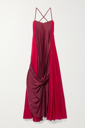 Alysi Draped Pleated Two-tone Crepe De Chine Maxi Dress - Red