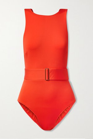 Serena Belted Swimsuit - Tomato red