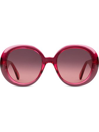 Gucci Eyewear Double G round frame sunglasses pink 623882J1691 - Farfetch