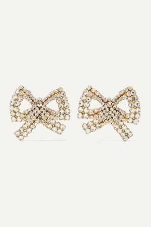 Gold Tie Me Up gold-plated crystal clip earrings | Rebecca de Ravenel | NET-A-PORTER