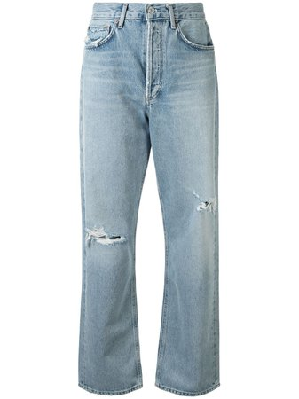 AGOLDE Captured Distressed straight-leg Jeans - Farfetch