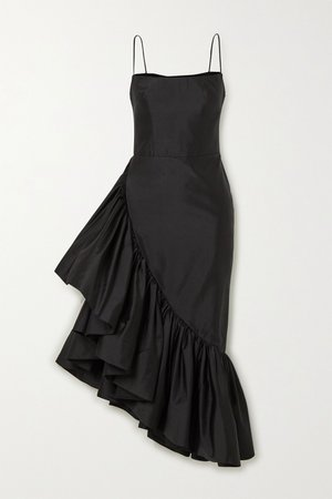 Black Asymmetric ruffled silk-shantung midi dress | RASARIO | NET-A-PORTER