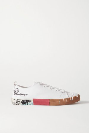 Distressed Printed Canvas Sneakers - White
