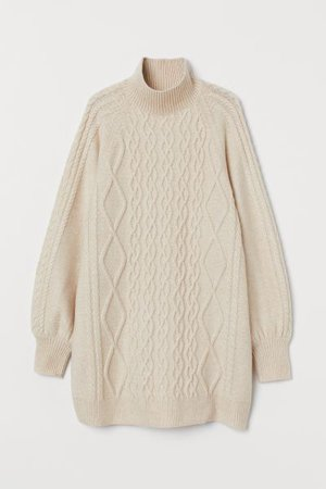 Cable-knit Sweater - Light beige - Ladies | H&M US