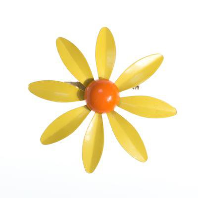Vintage Retro Mod Flower Power Yellow and Orange Enamel Brooch - Vintage Meet Modern