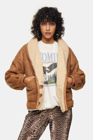 Tan Faux Shearling Jacket