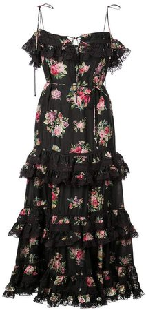 Honour floral print tiered dress
