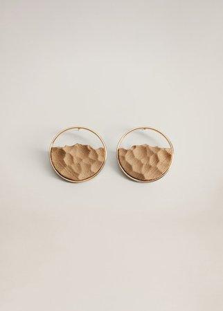 Embossed hoop earrings - Women | Mango USA gold