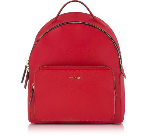 Coccinelle Clementine Poppy Red Leather Backpack at FORZIERI