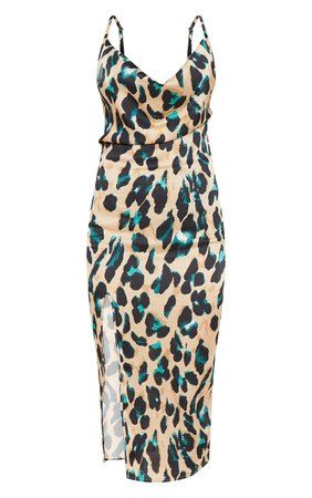 Tan Strappy Satin Leopard Midi Dress | PrettyLittleThing