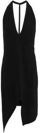 Ekioti Asymmetric Open-back Crepe Mini Dress