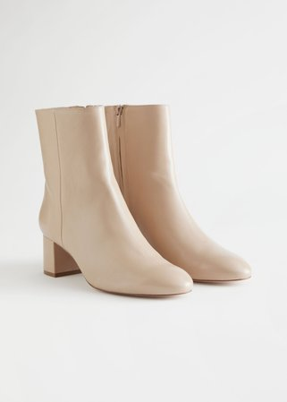 Almond Toe Heeled Leather Boots - Beige - Ankleboots - & Other Stories
