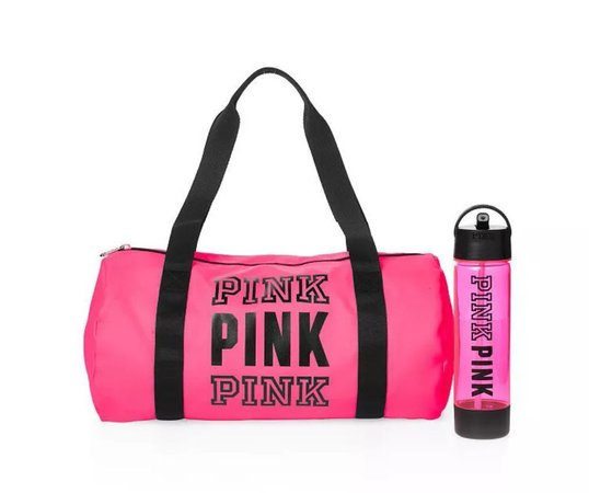 Victorias Secret Pink Gym Travel Pink Duffle Bag Water Bottle Duo New