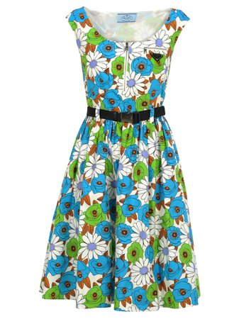 Prada Prada Floral Print Flared Dress