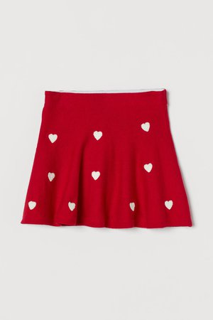 Fine-knit Skirt - Red/hearts - Kids | H&M US
