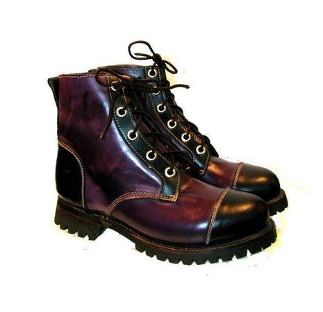 Vintage Mens Logger Boots Dark Purple and Black Leather Work | Etsy