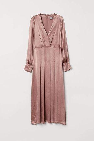 V-neck Satin Dress - Pink
