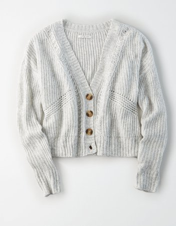 AE Button Up Boxy Cropped Cardigan