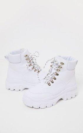 White Flatform Chunky Hiker Boot Trainer | PrettyLittleThing