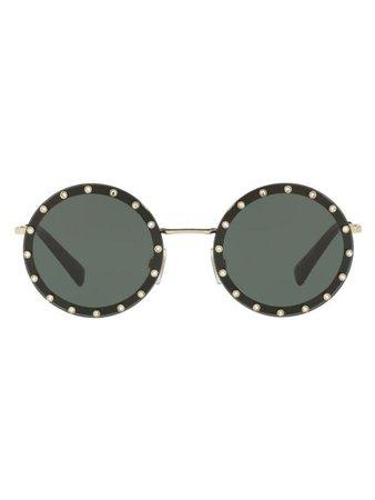 Valentino Eyewear Óculos De Sol Arredondado - Farfetch