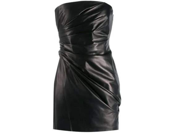*clipped by @luci-her* Versace Runway Black Strapless Draped Leather Mini Dress Size 38 For Sale at 1stDibs