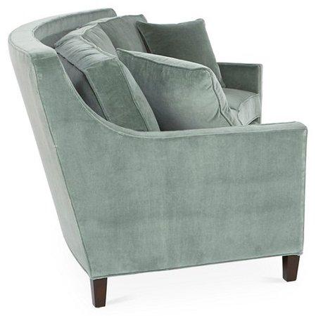 Caymen Curved Sofa, Sage Velvet - Sofas - Sofas & Settees - Living Room - Furniture   One Kings Lane