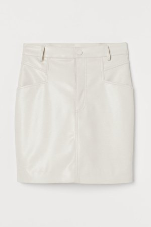 Faux Leather Skirt - White