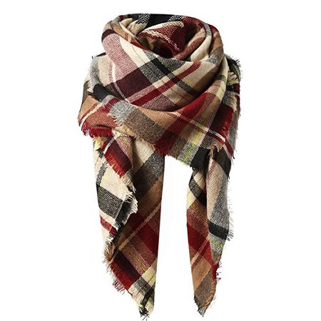 Zando Plaid Blanket Scarf Chunky Blanket Fall Stylish Scarves Women Soft Oversized Scarf Shawl Wrap Warm Cape Tassel Pink Light Red Scarfs at Amazon Women's Clothing store