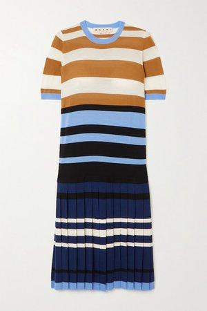 Pleated Striped Wool Dress - Blue
