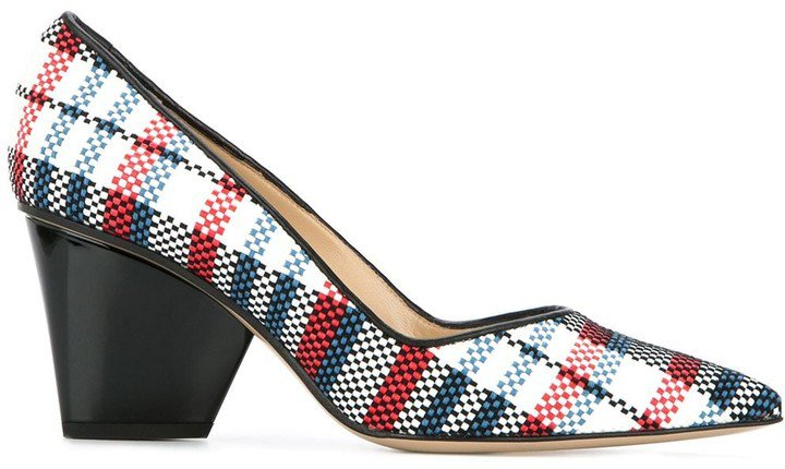 Sculpted Heel Plaid Pumps