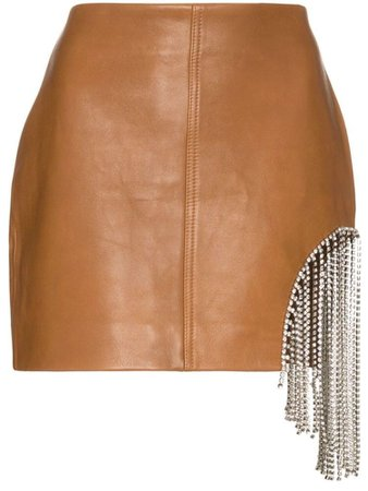 AREA crystal fringe-embellished mini skirt - Brown