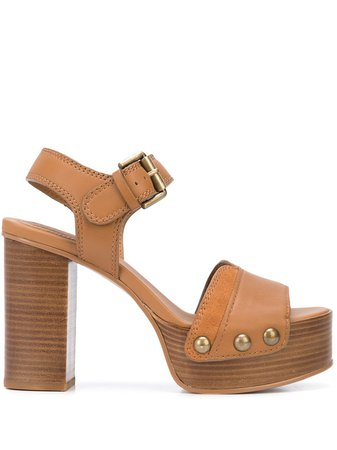 See By Chloé Chunky-Heel Sandals SB34122A Brown | Farfetch