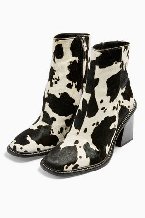 HUGH Leather Black and White Cow Print Boots   Topshop