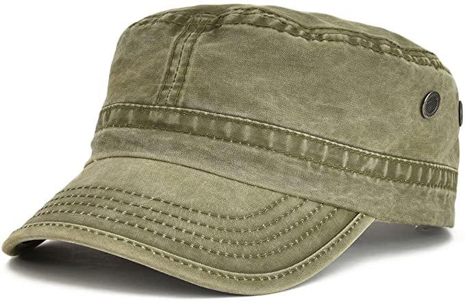 Amazon.com: VOBOOM Washed Cotton Military Caps Cadet Army Caps Unique Design Vintage Flat Top Cap (Army Green): Clothing