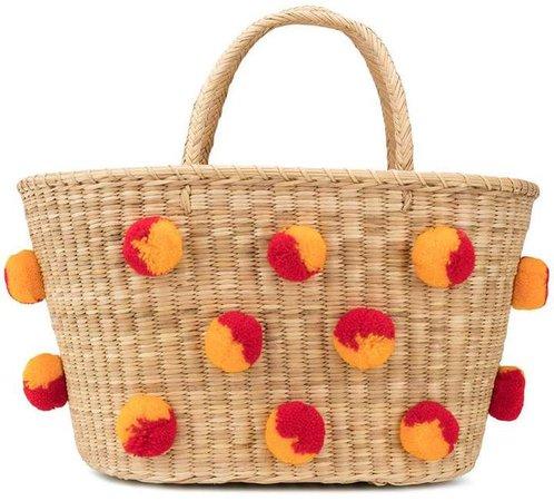 Nannacay pom-pom embellished basket