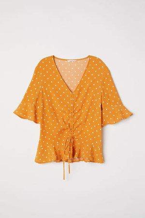 Drawstring Blouse - Yellow