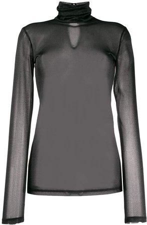 Styland turtleneck sheer blouse