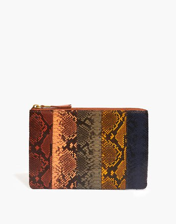 The Leather Pouch Clutch: Colorblock Snake Embossed Edition