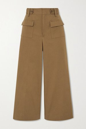 Cropped Cotton-blend Twill Wide-leg Pants - Army green