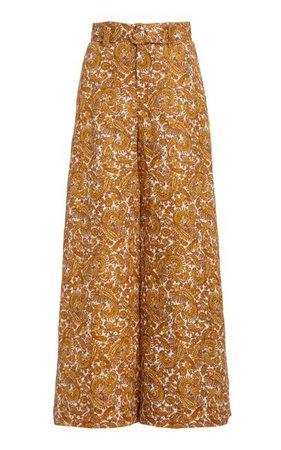 Manuela Belted Paisley Linen Wide-Leg Trousers By Faithfull The Brand | Moda Operandi