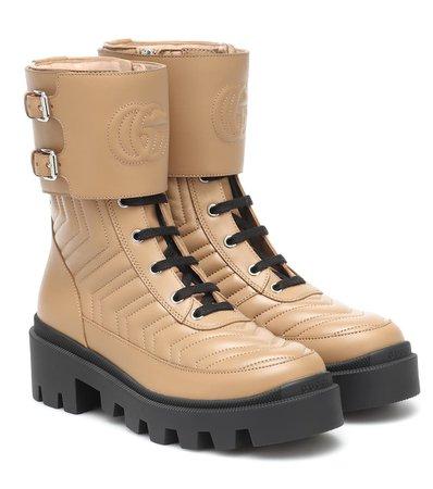 Frances Leather Combat Boots - Gucci   Mytheresa