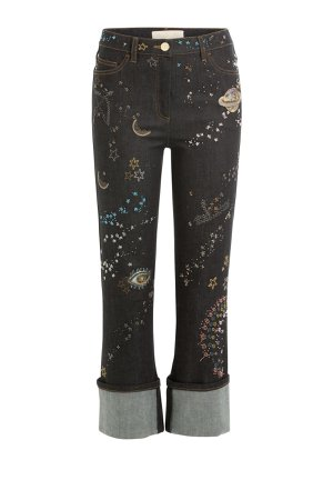 Embroidered and Embellished Cropped Jeans Gr. 25