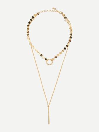 Flat Disc & Bar Design Layered Necklace