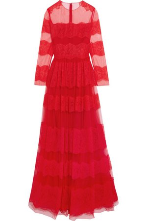 Valentino | Paneled Chantilly lace and tulle gown | NET-A-PORTER.COM