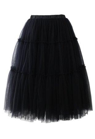 Black chiffon skirt tutu