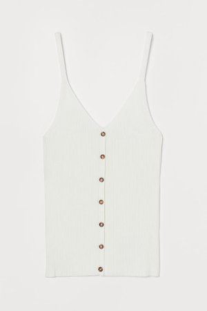 Rib-knit Tank Top - White